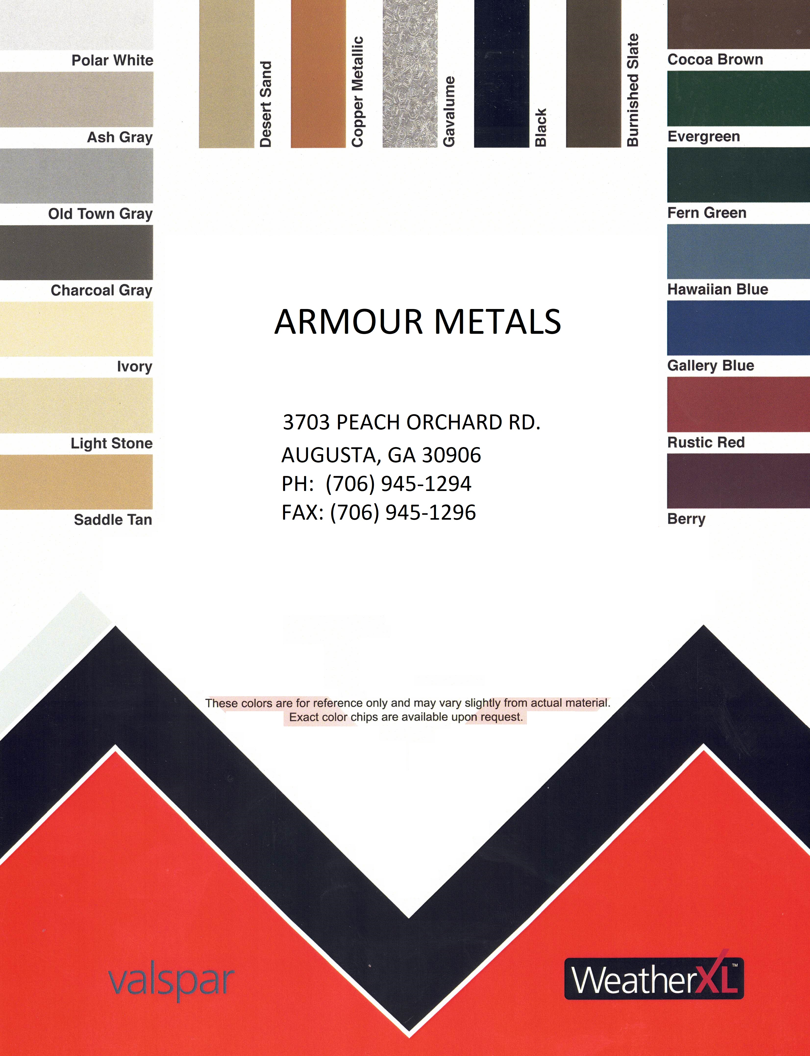 Armour Metals Metal Roofing And Pole Barns Color Chart