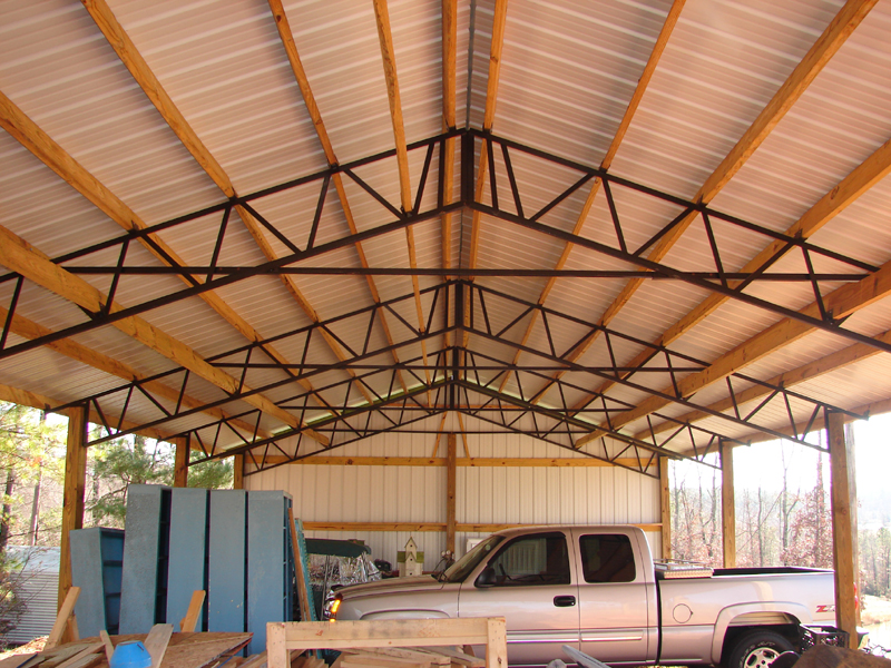 Armour metals pole barns metal roofing and pole barns for 40 ft metal trusses